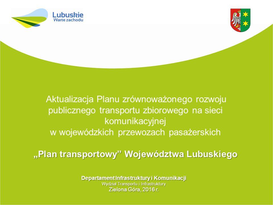 """Aktualizacja Planu zrównoważonego rozwoju publicznego transportu zbiorowego na sieci komunikacyjnej w wojewódzkich przewozach pasażerskich """"Plan trans"""