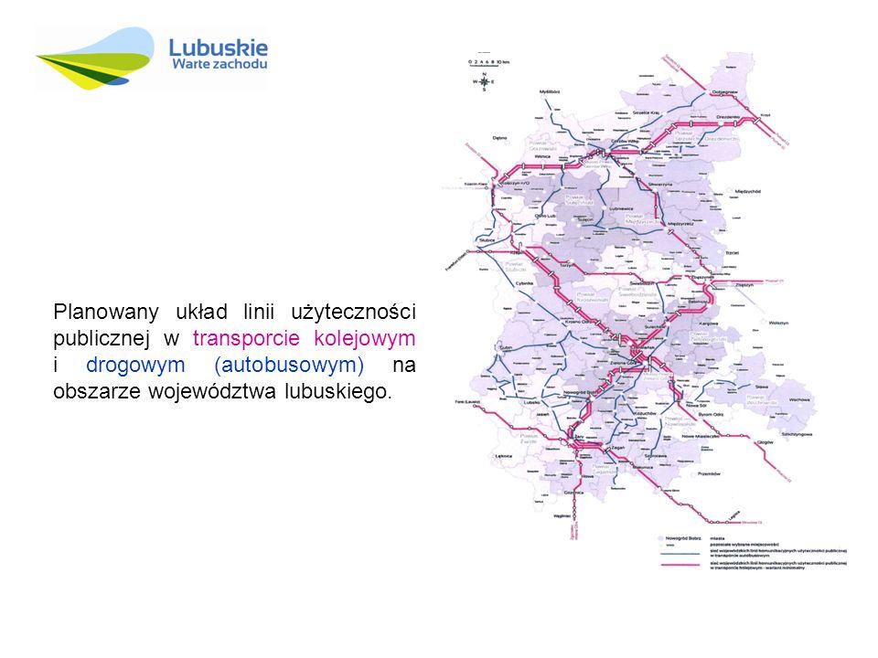 Planowany układ linii użyteczności publicznej w transporcie kolejowym i drogowym (autobusowym) na obszarze województwa lubuskiego.