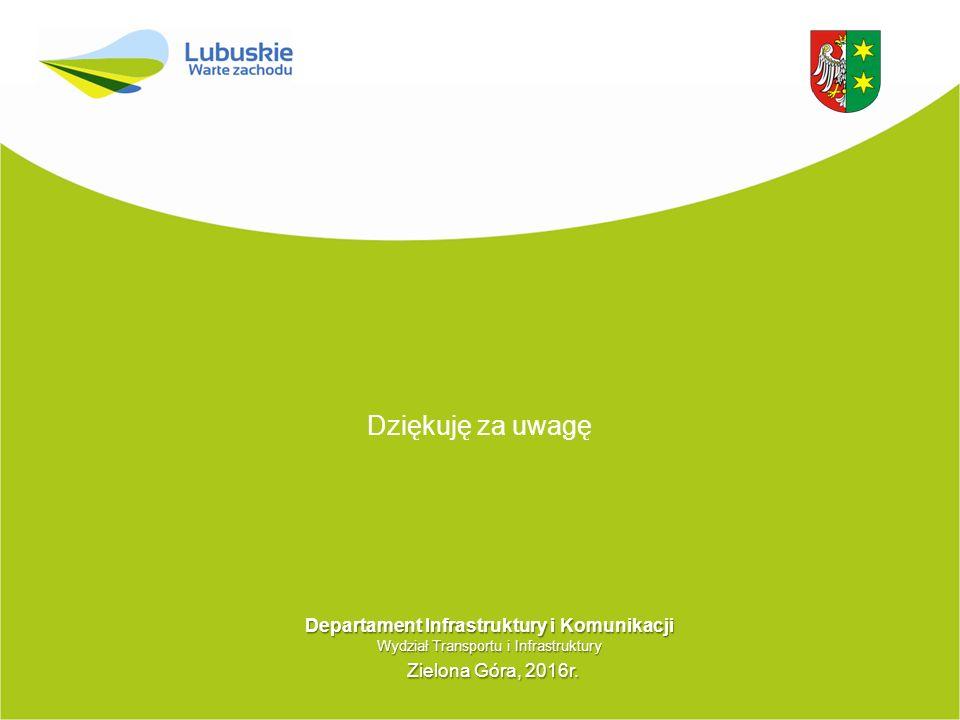 Dziękuję za uwagę Departament Infrastruktury i Komunikacji Wydział Transportu i Infrastruktury Zielona Góra, 2016r. Zielona Góra, 2016r.