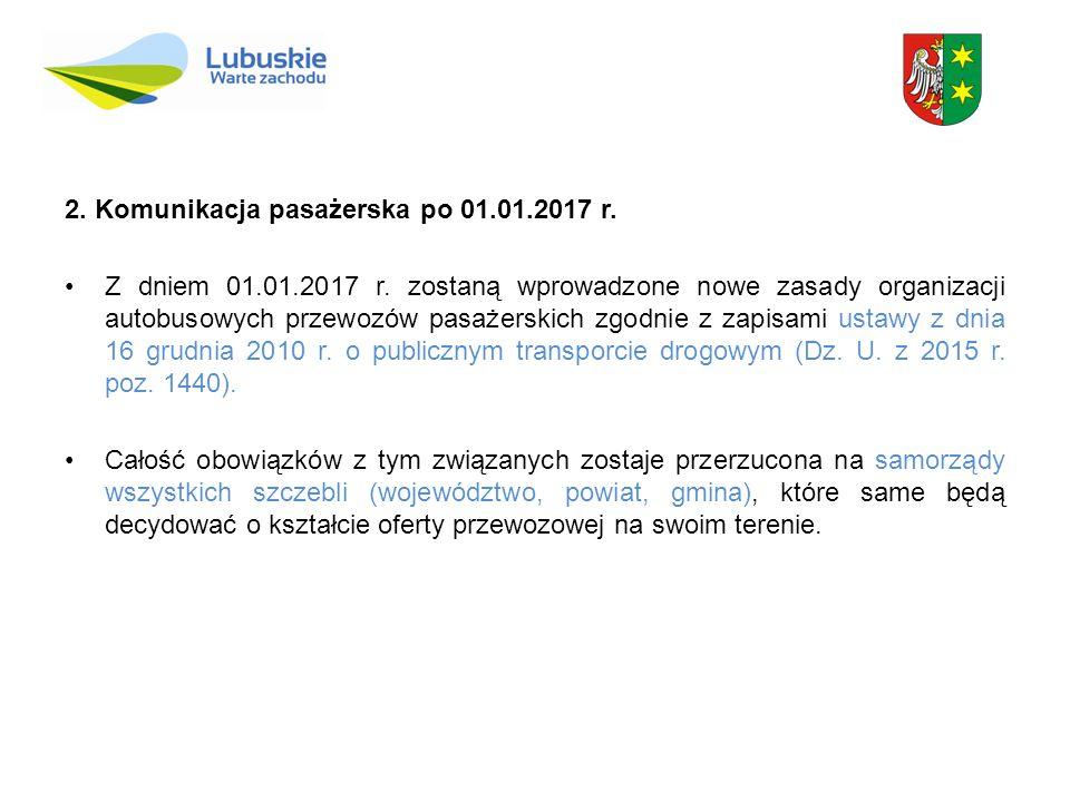 2. Komunikacja pasażerska po 01.01.2017 r. Z dniem 01.01.2017 r. zostaną wprowadzone nowe zasady organizacji autobusowych przewozów pasażerskich zgodn