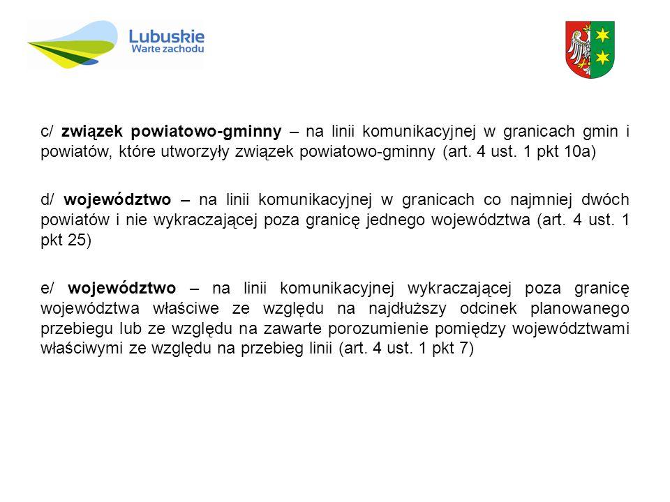 c/ związek powiatowo-gminny – na linii komunikacyjnej w granicach gmin i powiatów, które utworzyły związek powiatowo-gminny (art. 4 ust. 1 pkt 10a) d/