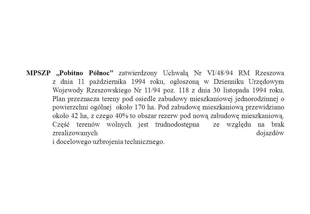 """MPSZP """"Pobitno Północ zatwierdzony Uchwałą Nr VI/48/94 RM Rzeszowa z dnia 11 października 1994 roku, ogłoszoną w Dzienniku Urzędowym Wojewody Rzeszowskiego Nr 11/94 poz."""