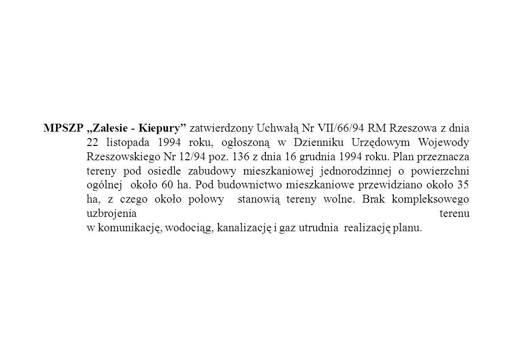"""MPSZP """"Zalesie - Kiepury zatwierdzony Uchwałą Nr VII/66/94 RM Rzeszowa z dnia 22 listopada 1994 roku, ogłoszoną w Dzienniku Urzędowym Wojewody Rzeszowskiego Nr 12/94 poz."""