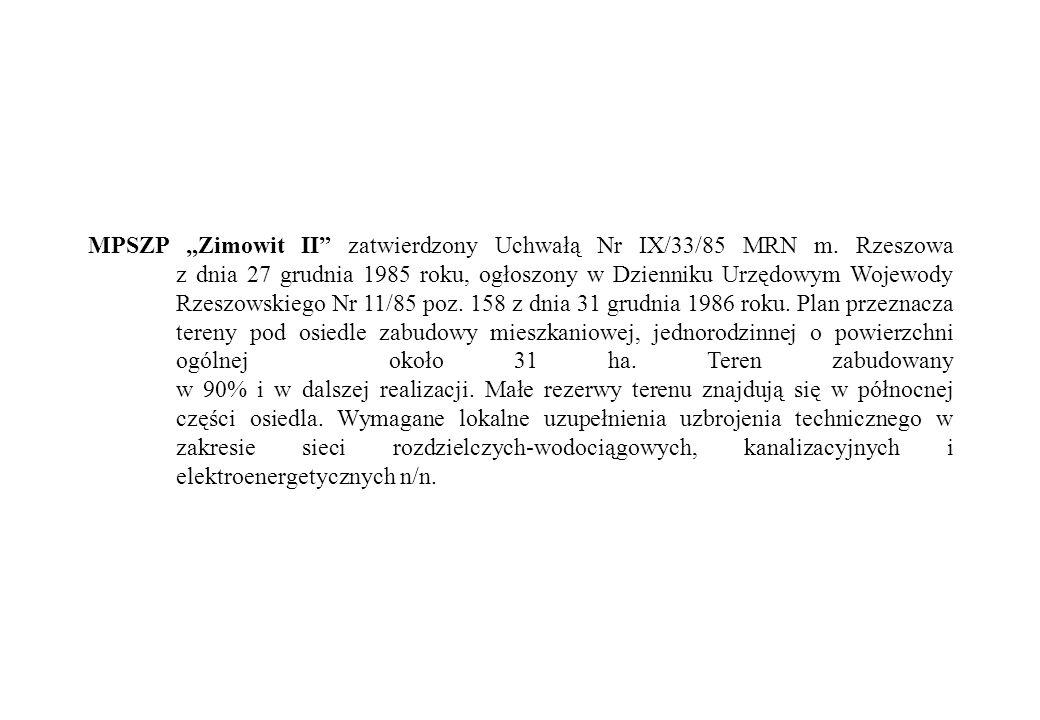 """MPSZP """"Zimowit II zatwierdzony Uchwałą Nr IX/33/85 MRN m."""