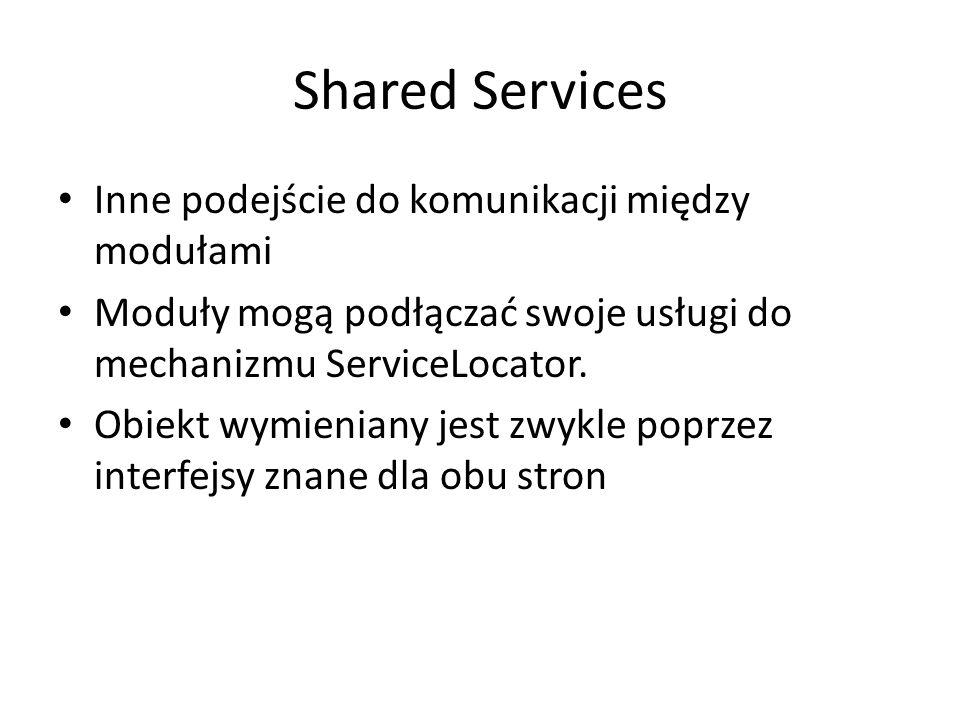 Shared Services Inne podejście do komunikacji między modułami Moduły mogą podłączać swoje usługi do mechanizmu ServiceLocator. Obiekt wymieniany jest
