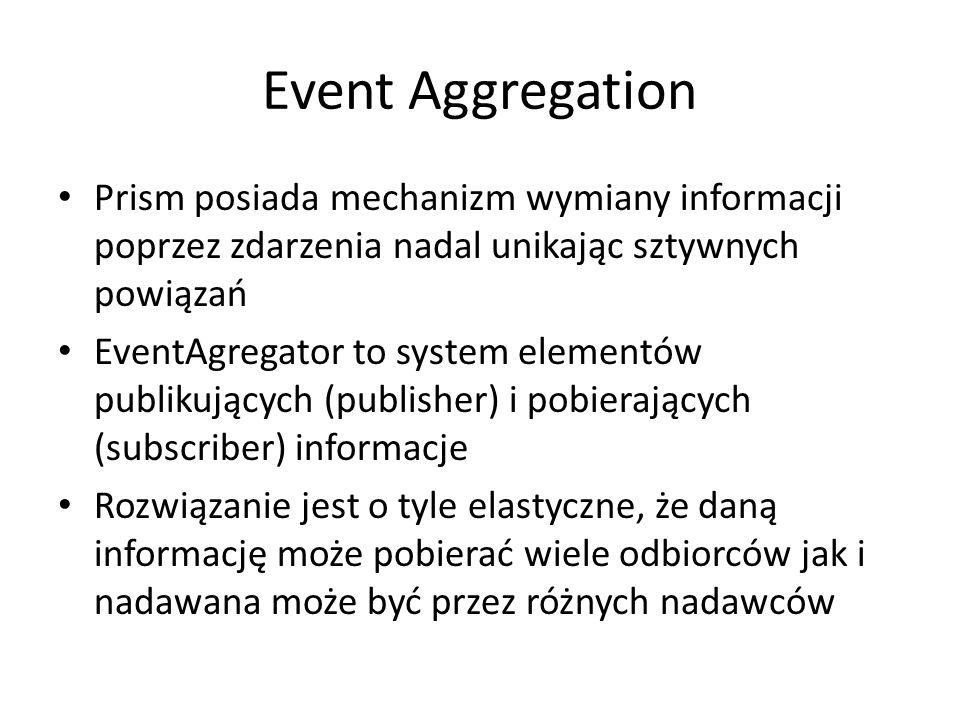 Event Aggregation Prism posiada mechanizm wymiany informacji poprzez zdarzenia nadal unikając sztywnych powiązań EventAgregator to system elementów publikujących (publisher) i pobierających (subscriber) informacje Rozwiązanie jest o tyle elastyczne, że daną informację może pobierać wiele odbiorców jak i nadawana może być przez różnych nadawców