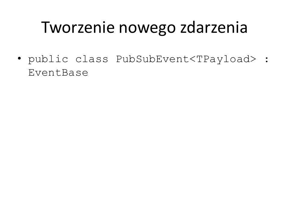 Tworzenie nowego zdarzenia public class PubSubEvent : EventBase