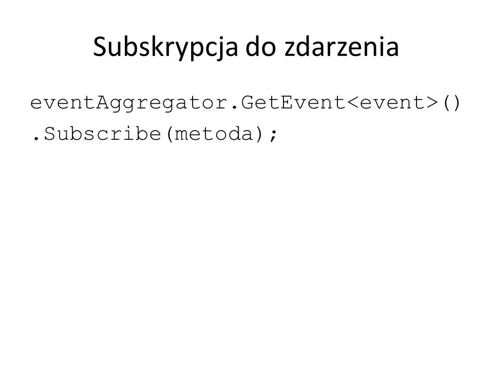 Subskrypcja do zdarzenia eventAggregator.GetEvent ().Subscribe(metoda);