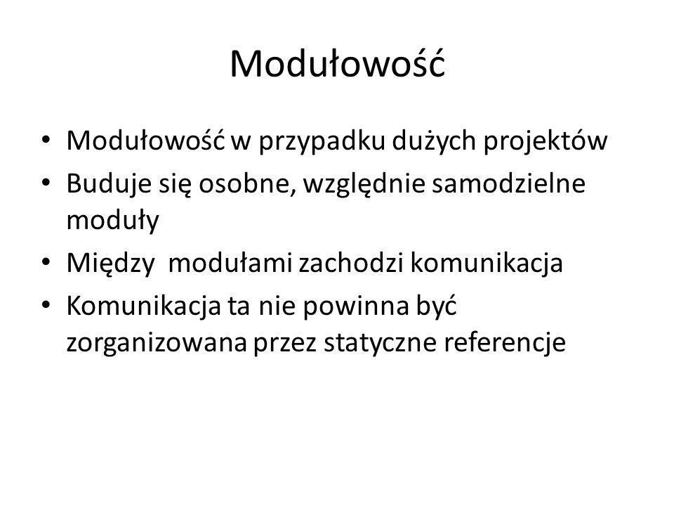 Modułowość Modułowość w przypadku dużych projektów Buduje się osobne, względnie samodzielne moduły Między modułami zachodzi komunikacja Komunikacja ta nie powinna być zorganizowana przez statyczne referencje