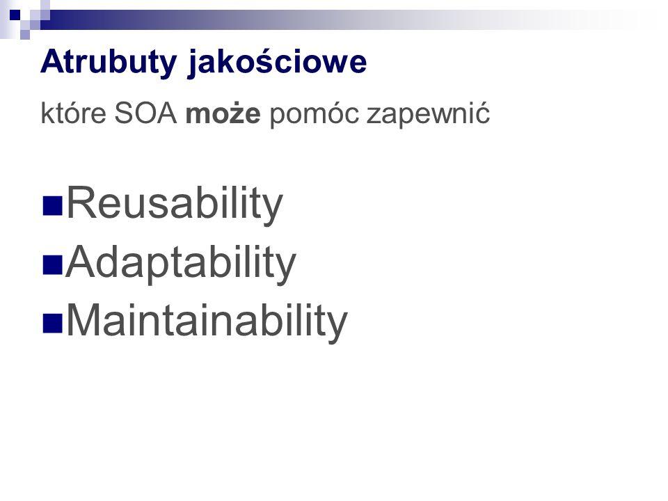 Atrubuty jakościowe które SOA może pomóc zapewnić Reusability Adaptability Maintainability
