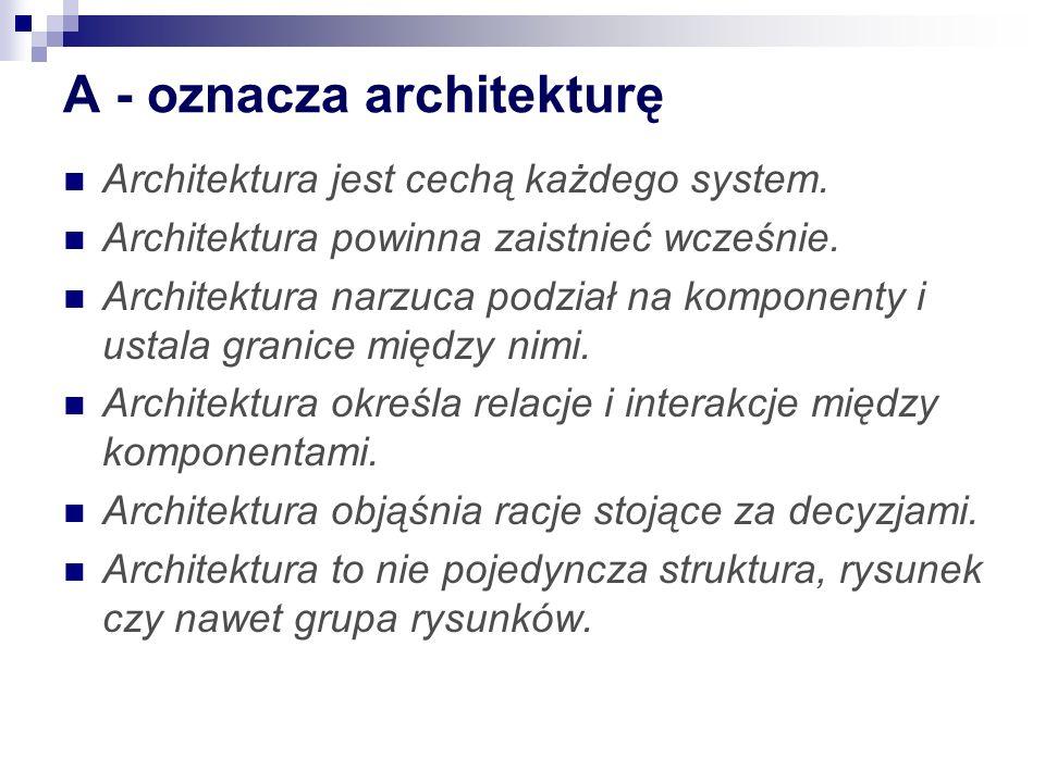 A - oznacza architekturę Architektura jest cechą każdego system. Architektura powinna zaistnieć wcześnie. Architektura narzuca podział na komponenty i