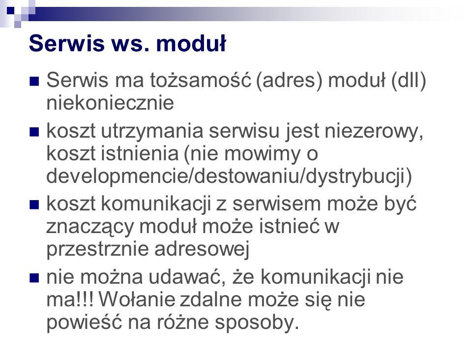 Serwis ws. moduł Serwis ma tożsamość (adres) moduł (dll) niekoniecznie koszt utrzymania serwisu jest niezerowy, koszt istnienia (nie mowimy o developm