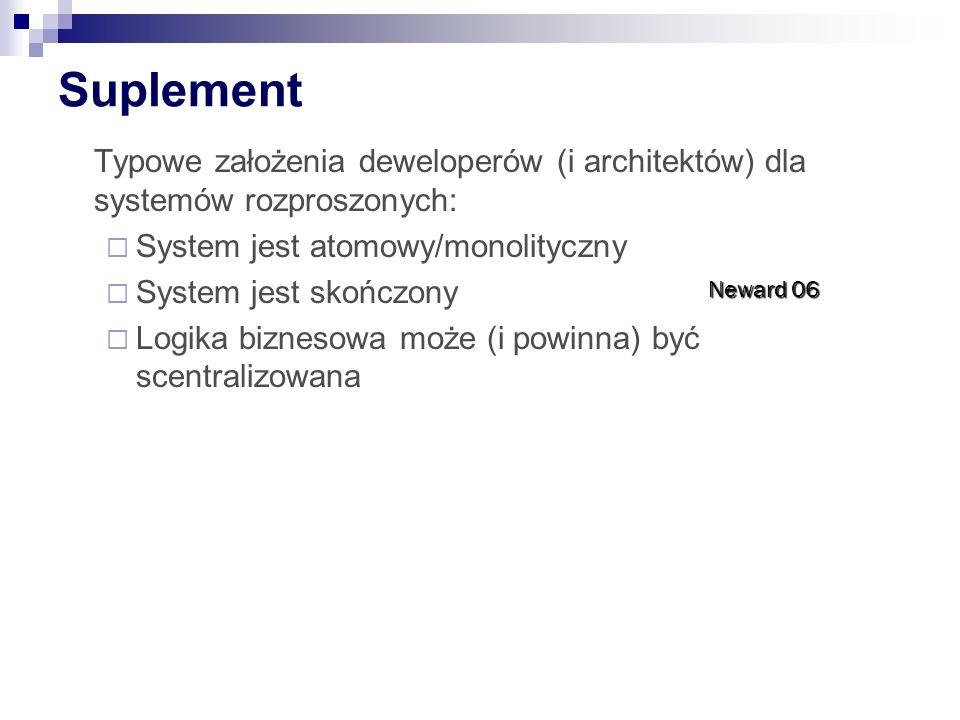 Suplement Typowe założenia deweloperów (i architektów) dla systemów rozproszonych:  System jest atomowy/monolityczny  System jest skończony  Logika biznesowa może (i powinna) być scentralizowana Neward 06