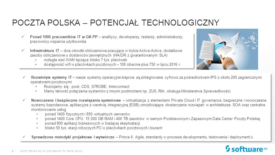 3 | © 2016 Software AG. All rights reserved. For internal use only POCZTA POLSKA – WYZWANIA IT