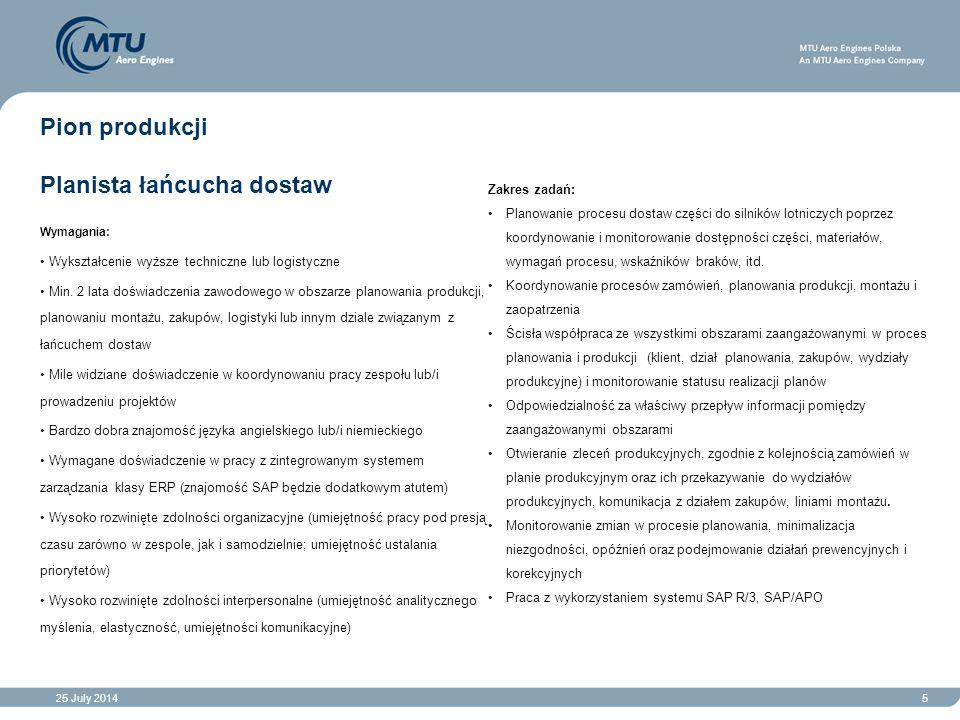25 July 20145 Pion produkcji Planista łańcucha dostaw Wymagania: Wykształcenie wyższe techniczne lub logistyczne Min.