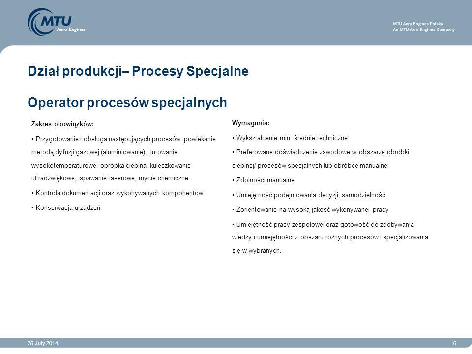 25 July 20146 Dział produkcji– Procesy Specjalne Operator procesów specjalnych Zakres obowiązków: Przygotowanie i obsługa następujących procesów: powl