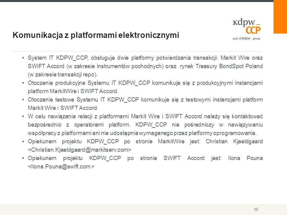 Komunikacja z platformami elektronicznymi 10 System IT KDPW_CCP, obsługuje dwie platformy potwierdzania transakcji: Markit Wire oraz SWIFT Accord (w zakresie instrumentów pochodnych) oraz rynek Treasury BondSpot Poland (w zakresie transakcji repo).