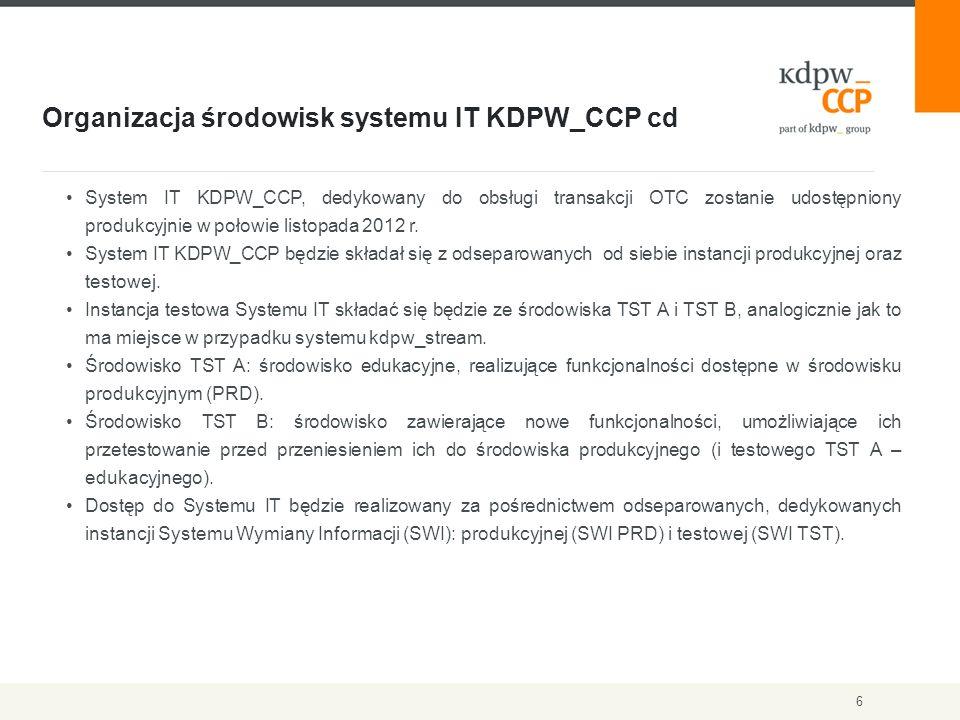 Organizacja środowisk systemu IT KDPW_CCP cd 6 System IT KDPW_CCP, dedykowany do obsługi transakcji OTC zostanie udostępniony produkcyjnie w połowie listopada 2012 r.