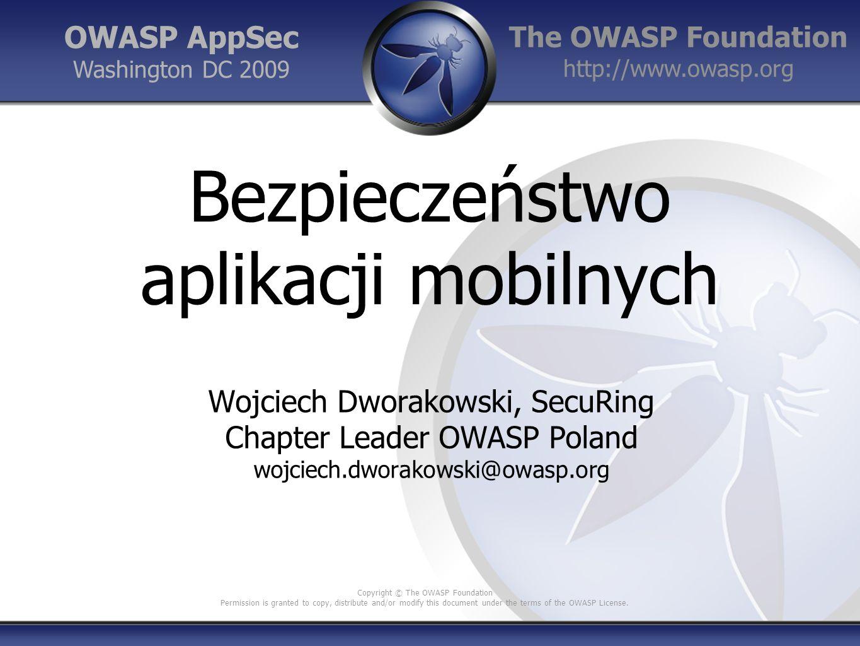 OWASP GoatDroid Platforma treningowa Aplikacje Android z celowo popełnionymi błędami + serwisy webowe FourGoats, a location-based social network Herd Financial, a mobile banking application https://github.com/jackMannino/OWASP- GoatDroid-Project https://github.com/jackMannino/OWASP- GoatDroid-Project 22