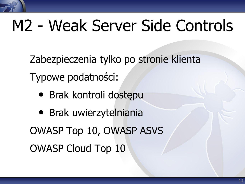 M2 - Weak Server Side Controls Zabezpieczenia tylko po stronie klienta Typowe podatności: Brak kontroli dostępu Brak uwierzytelniania OWASP Top 10, OWASP ASVS OWASP Cloud Top 10 13