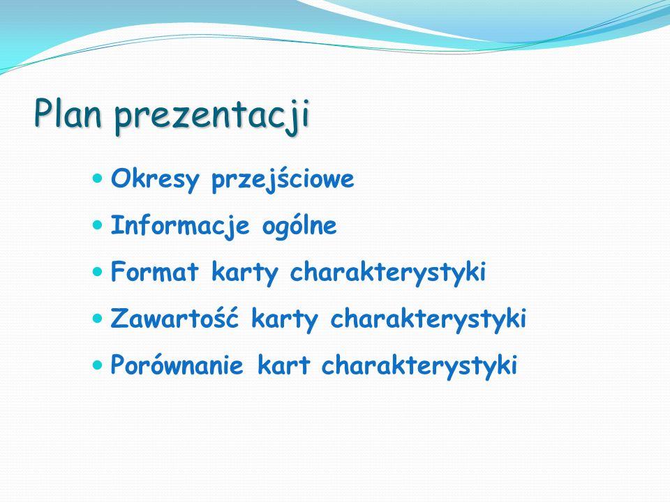 Plan prezentacji Okresy przejściowe Informacje ogólne Format karty charakterystyki Zawartość karty charakterystyki Porównanie kart charakterystyki