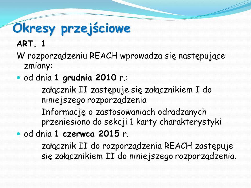 ART. 1 W rozporządzeniu REACH wprowadza się następujące zmiany: od dnia 1 grudnia 2010 r.: załącznik II zastępuje się załącznikiem I do niniejszego ro