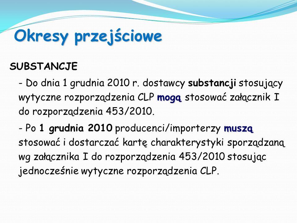 Okresy przejściowe SUBSTANCJE mogą - Do dnia 1 grudnia 2010 r. dostawcy substancji stosujący wytyczne rozporządzenia CLP mogą stosować załącznik I do