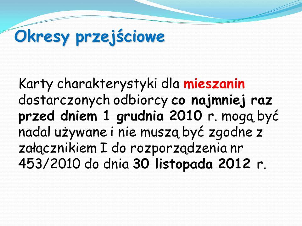 Karty charakterystyki dla mieszanin dostarczonych odbiorcy co najmniej raz przed dniem 1 grudnia 2010 r. mogą być nadal używane i nie muszą być zgodne
