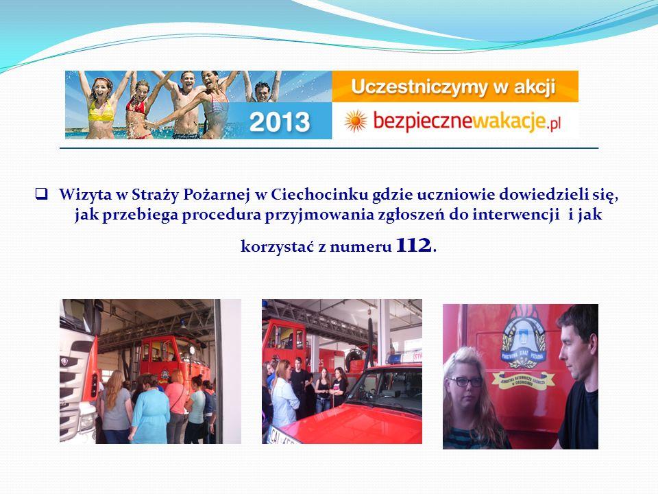  Wizyta w Straży Pożarnej w Ciechocinku gdzie uczniowie dowiedzieli się, jak przebiega procedura przyjmowania zgłoszeń do interwencji i jak korzystać z numeru 112.