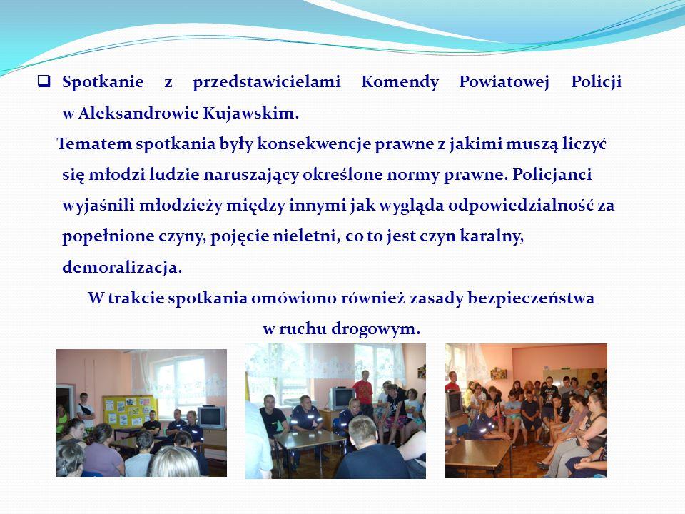 Spotkanie z przedstawicielami Komendy Powiatowej Policji w Aleksandrowie Kujawskim.