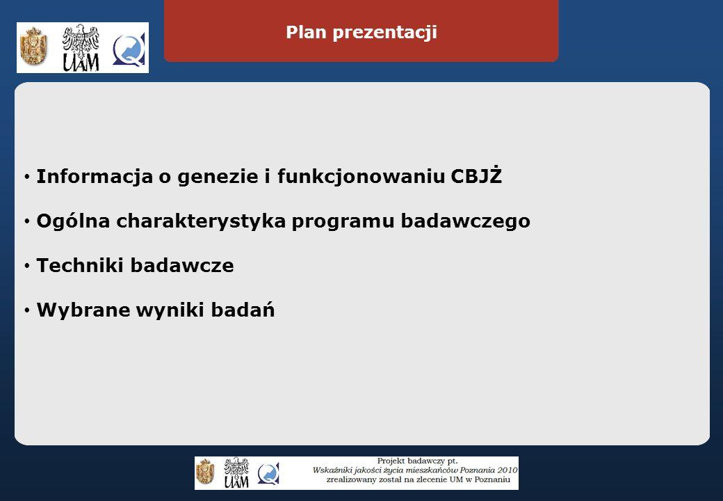 Plan prezentacji Informacja o genezie i funkcjonowaniu CBJŻ Ogólna charakterystyka programu badawczego Techniki badawcze Wybrane wyniki badań