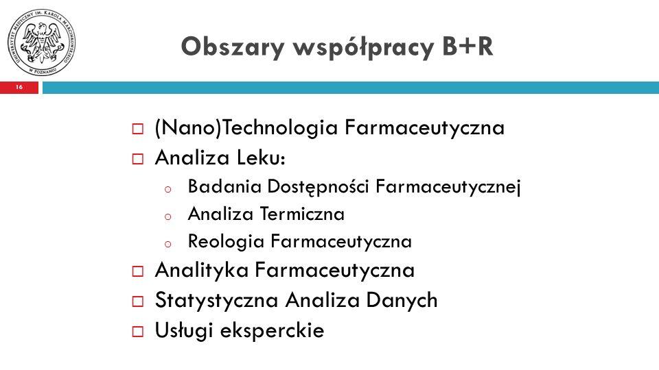 Obszary współpracy B+R  (Nano)Technologia Farmaceutyczna  Analiza Leku: o Badania Dostępności Farmaceutycznej o Analiza Termiczna o Reologia Farmaceutyczna  Analityka Farmaceutyczna  Statystyczna Analiza Danych  Usługi eksperckie 16