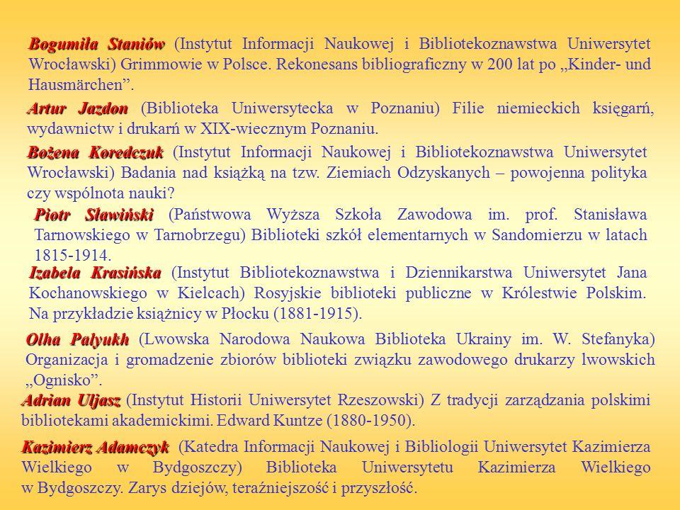 Bogumiła Staniów Bogumiła Staniów (Instytut Informacji Naukowej i Bibliotekoznawstwa Uniwersytet Wrocławski) Grimmowie w Polsce. Rekonesans bibliograf