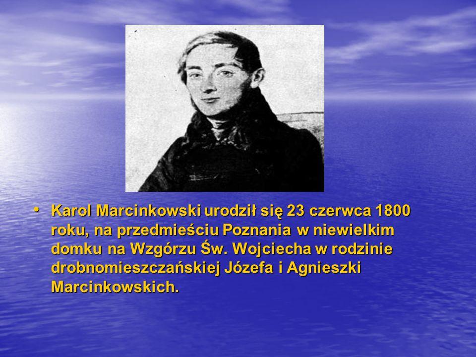 Karol Marcinkowski urodził się 23 czerwca 1800 roku, na przedmieściu Poznania w niewielkim domku na Wzgórzu Św. Wojciecha w rodzinie drobnomieszczańsk