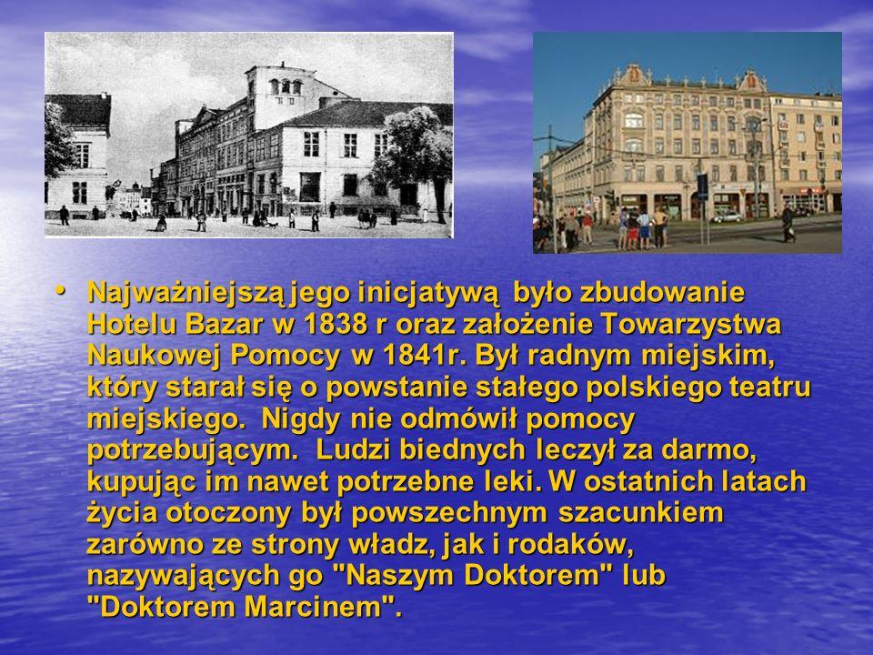 Najważniejszą jego inicjatywą było zbudowanie Hotelu Bazar w 1838 r oraz założenie Towarzystwa Naukowej Pomocy w 1841r.