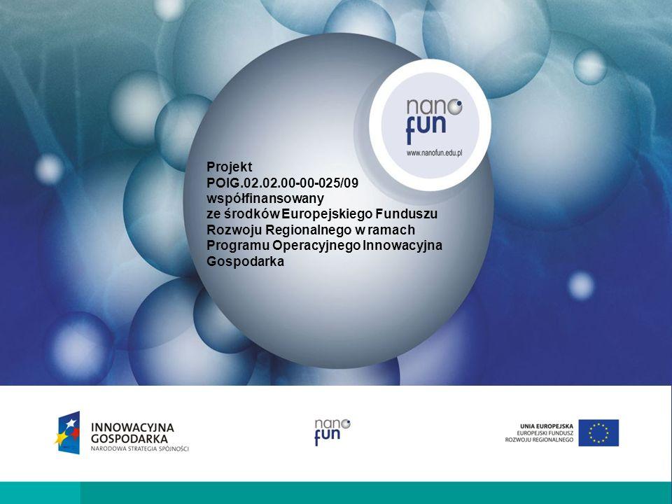 Projekt współfinansowany ze środków Europejskiego Funduszu Rozwoju Regionalnego w ramach Programu Operacyjnego Innowacyjna Gospodarka POIG.02.02.00-00-025/09 Krajowe Laboratorium Multidyscyplinarne Nanomateriałów Funkcjonalnych NanoFun