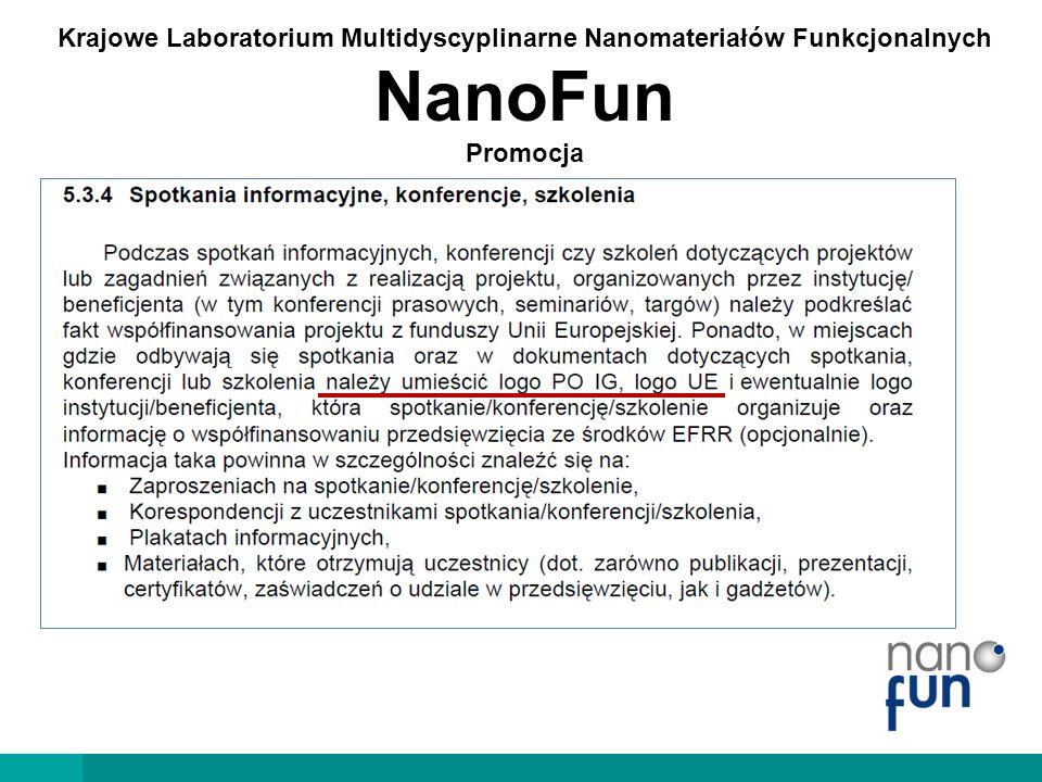 Krajowe Laboratorium Multidyscyplinarne Nanomateriałów Funkcjonalnych NanoFun Promocja Podziękowania dla POIG-u i UE podczas wszelkich spotkań NanoFun-owych  lekcje pokazowe  szkolenia  warsztaty  spotkania organizacyjne  itd…