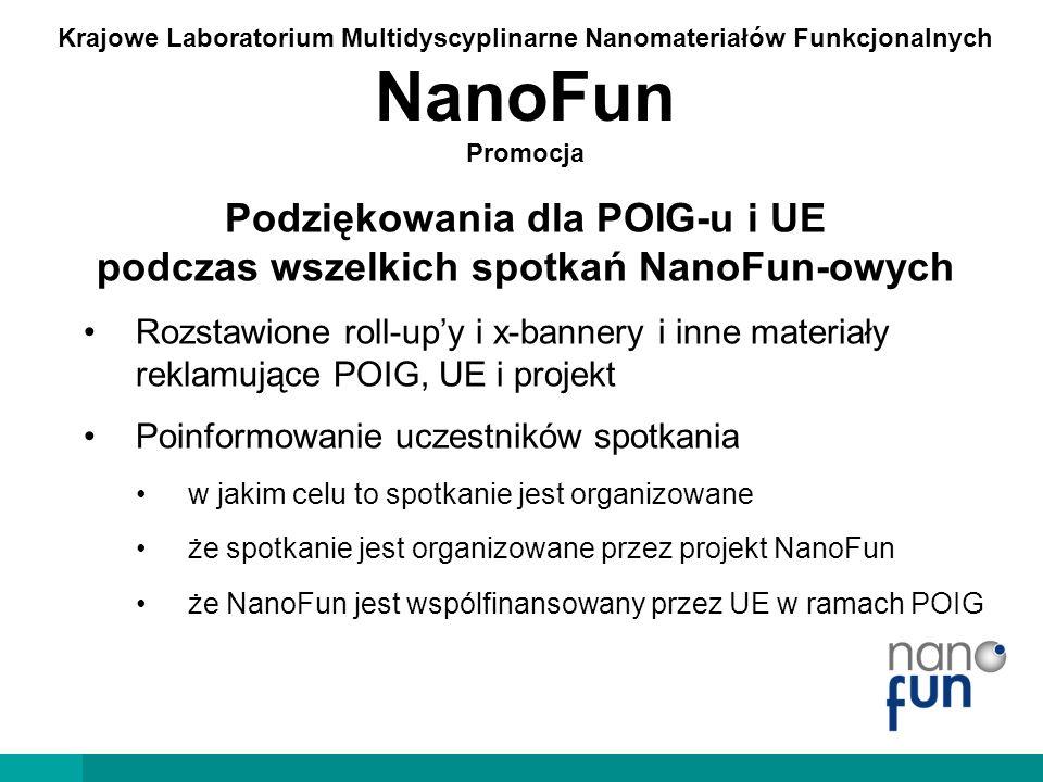 Krajowe Laboratorium Multidyscyplinarne Nanomateriałów Funkcjonalnych NanoFun Promocja Podziękowania dla POIG-u i UE podczas wszelkich spotkań NanoFun-owych Wymagana dokumentacja Dokumentacja fotograficzna ze spotkania z wyeksponowaniem logotypów POIG, UE i NanoFun Lista obecności na papierze firmowym NanoFun tytuł spotkania, data imię i nazwisko uczestnika, afiliacja, stanowisko, podpis