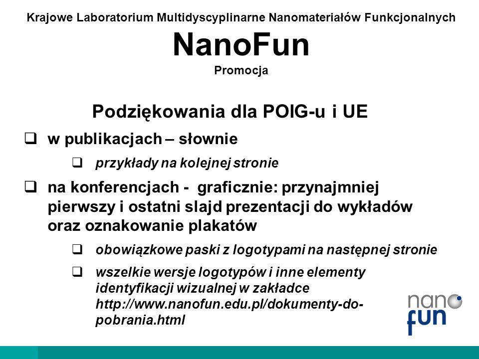 Krajowe Laboratorium Multidyscyplinarne Nanomateriałów Funkcjonalnych NanoFun Promocja This work / project… …will be continued / has been done / was done / was (partially) performed… …in the NanoFun laboratories co-financed by the European Regional Development Fund within the Innovation Economy Operational Programme POIG.02.02.00-00-025/09 / …in the NanoFun laboratories co-financed by the ERDF Project POIG.02.02.00-00-025/09 / …in the laboratories founded by POIG.02.02.00-00-025/09 The research was partially supported by the European Union within the European Regional Development Fund, through the Innovative Economy Operational Programme POIG.02.02.00-00-025/09 Obowiązkowo: numer projektu, odwołanie do POIG-u i UE (np.