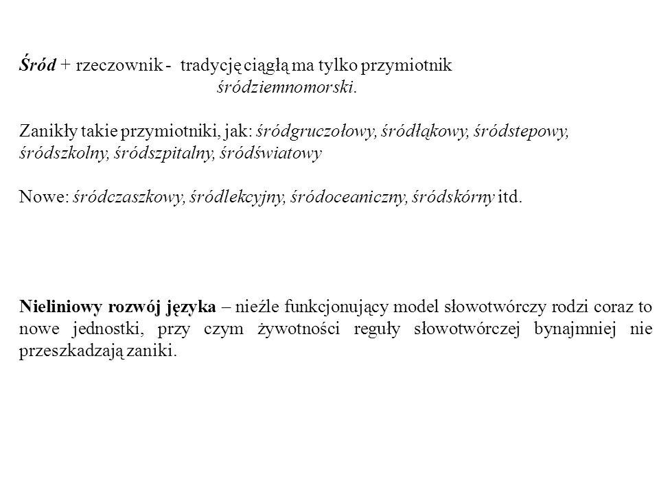Śród + rzeczownik - tradycję ciągłą ma tylko przymiotnik śródziemnomorski. Zanikły takie przymiotniki, jak: śródgruczołowy, śródłąkowy, śródstepowy, ś