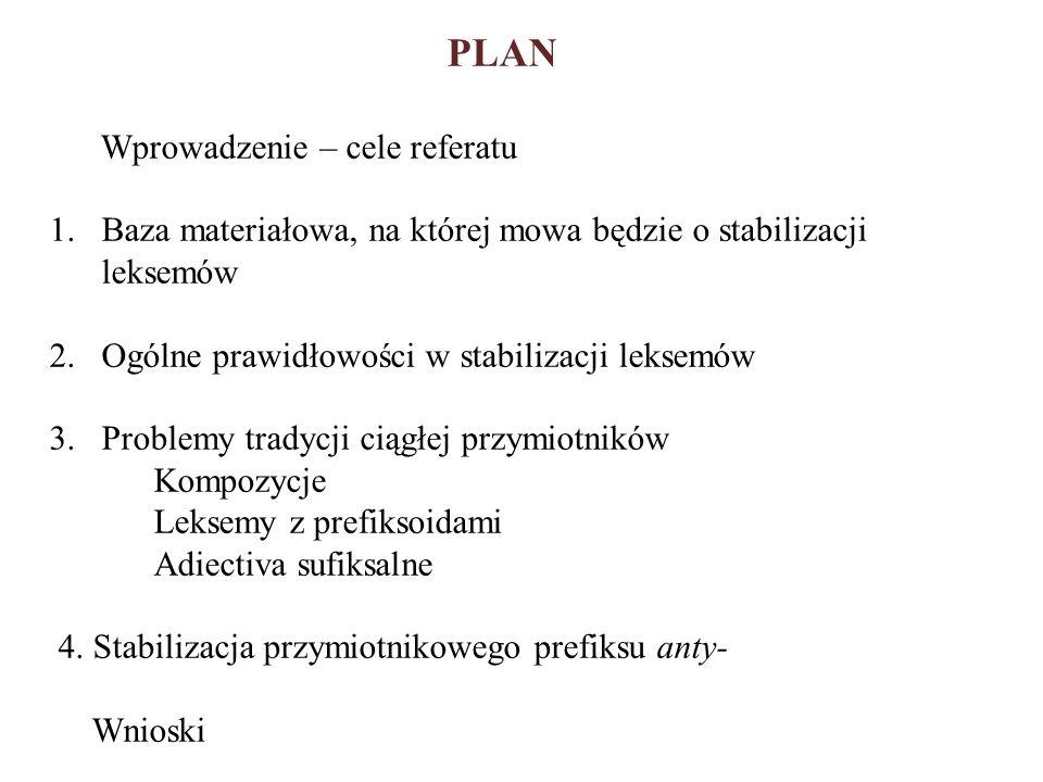 PLAN Wprowadzenie – cele referatu 1.Baza materiałowa, na której mowa będzie o stabilizacji leksemów 2.Ogólne prawidłowości w stabilizacji leksemów 3.P