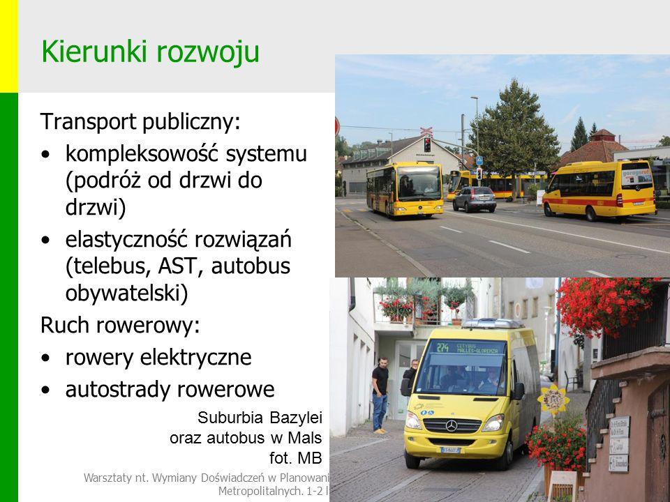 Kierunki rozwoju Transport publiczny: kompleksowość systemu (podróż od drzwi do drzwi) elastyczność rozwiązań (telebus, AST, autobus obywatelski) Ruch rowerowy: rowery elektryczne autostrady rowerowe Warsztaty nt.