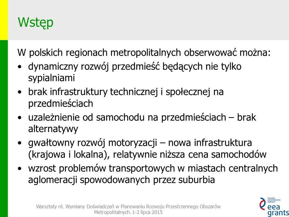 Wstęp W polskich regionach metropolitalnych obserwować można: dynamiczny rozwój przedmieść będących nie tylko sypialniami brak infrastruktury technicznej i społecznej na przedmieściach uzależnienie od samochodu na przedmieściach – brak alternatywy gwałtowny rozwój motoryzacji – nowa infrastruktura (krajowa i lokalna), relatywnie niższa cena samochodów wzrost problemów transportowych w miastach centralnych aglomeracji spowodowanych przez suburbia Warsztaty nt.