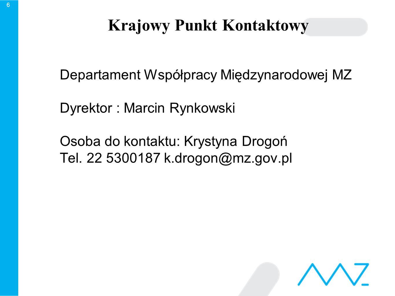 Krajowy Punkt Kontaktowy Departament Współpracy Międzynarodowej MZ Dyrektor : Marcin Rynkowski Osoba do kontaktu: Krystyna Drogoń Tel.