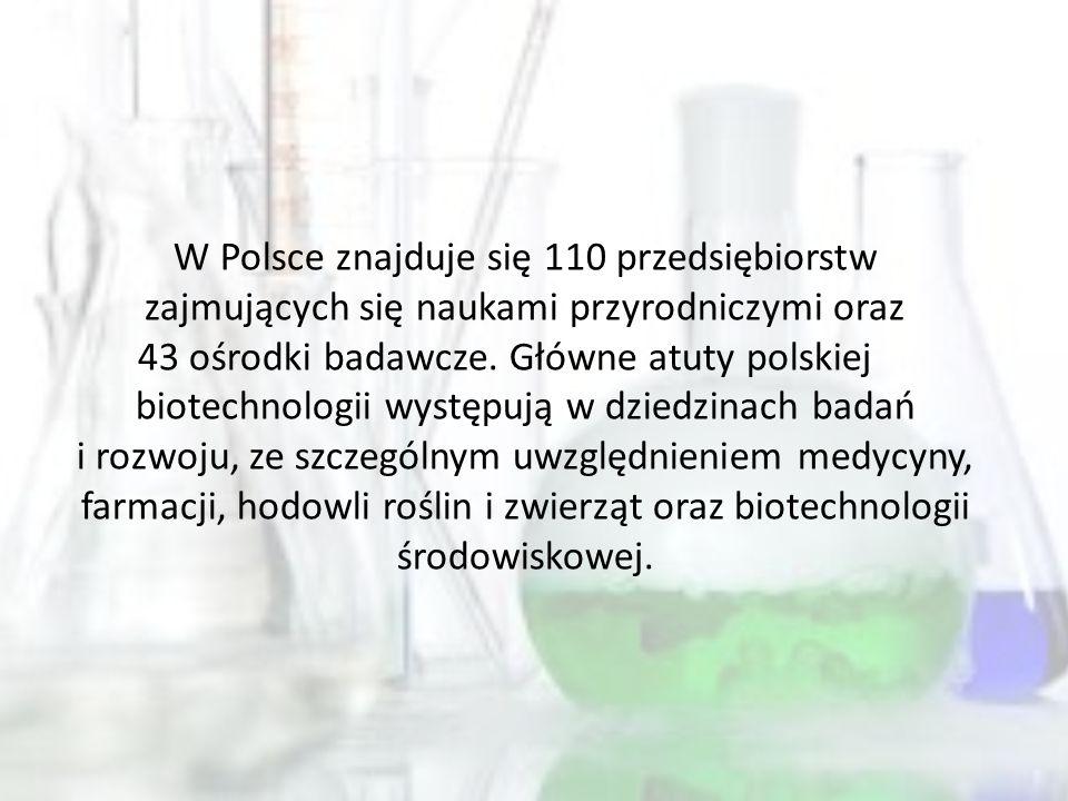 W Polsce znajduje się 110 przedsiębiorstw zajmujących się naukami przyrodniczymi oraz 43 ośrodki badawcze.