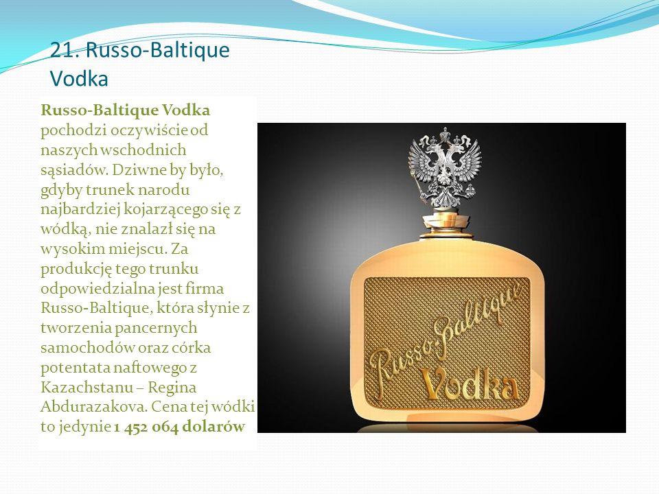 21. Russo-Baltique Vodka Russo-Baltique Vodka pochodzi oczywiście od naszych wschodnich sąsiadów.