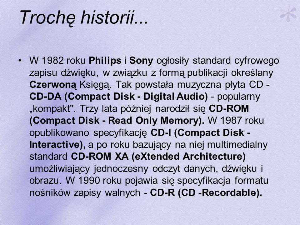 Trochę historii... W 1982 roku Philips i Sony ogłosiły standard cyfrowego zapisu dźwięku, w związku z formą publikacji określany Czerwoną Księgą. Tak