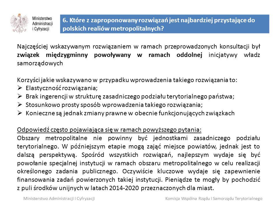6. Które z zaproponowany rozwiązań jest najbardziej przystające do polskich realiów metropolitalnych? Ministerstwo Administracji i CyfryzacjiKomisja W