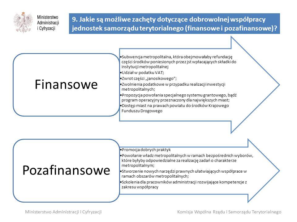 9. Jakie są możliwe zachęty dotyczące dobrowolnej współpracy jednostek samorządu terytorialnego (finansowe i pozafinansowe)? Ministerstwo Administracj