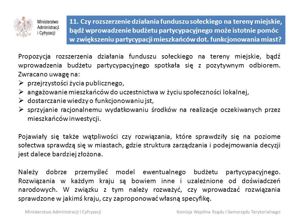 11. Czy rozszerzenie działania funduszu sołeckiego na tereny miejskie, bądź wprowadzenie budżetu partycypacyjnego może istotnie pomóc w zwiększeniu pa